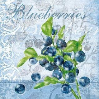 Ambiente Servietten BLUEBERRIES Hellblau Blaubeeren Blumen Grün Blau 20 Stck 33x
