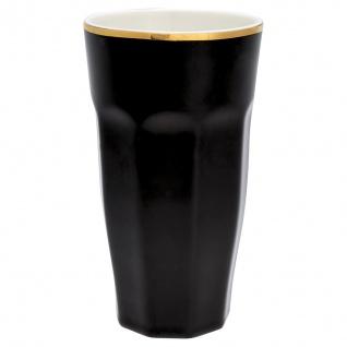 Greengate French Latte Becher Schwarz Gold Porzellan Goldrand Geschirr 400 ml