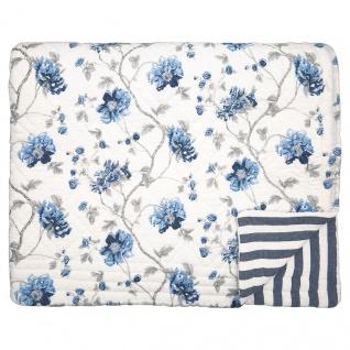 Greengate Quilt CHARLOTTE Weiß Blau 180x230 Tagesdecke Baumwolle Decke Überwurf