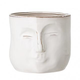 Bloomingville Blumentopf Gesicht Weiß 18 cm Keramik Übertopf Pflanztopf