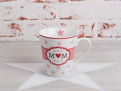 """Krasilnikoff Happy Mug Henkel Becher Mom"""" weiß Sterne rosa Herz rot pink Stern"""""""