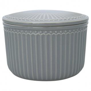 Greengate Vorratsdose mit Deckel ALICE Stone Grey Grau Klein 9x13 cm Keramik