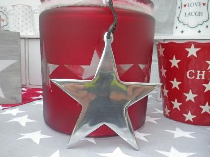 Deko STERN Hänger Alu silber 15 cm Metall glänzend Weihnachtsdeko Sterne Deko