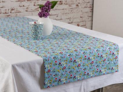 Krasilnikoff Tischläufer MILLE FLEURS Blau Bunte Blumen Tischdecke 50x150