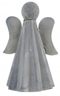 IB Laursen ENGEL Deko Figur Metall Grau Weihnachtsdeko 17 cm Zink Optik