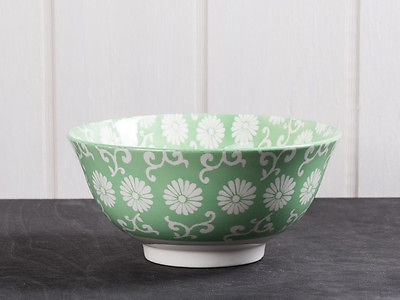 IB Laursen Schale LIVA groß grün weiß Blumen Geschirr Müslischale Obst Schüssel