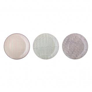 Bloomingville Essteller MAYA 3er Set Keramik Teller 28 cm Geschirr Speiseteller