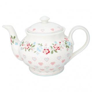 Greengate Teekanne SONIA Weiß mit Herzen und Blumen Kanne Porzellan Geschirr 1 Liter