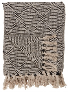IB Laursen Plaid Harlekin Creme Schwarz Decke Baumwolle 130x160 Wolldecke