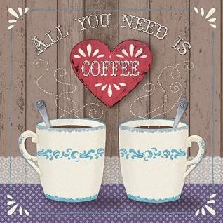 Ambiente Servietten ALL YOU NEED IS COFFEE Kaffee Becher Herz rot 20 Stck 33x33