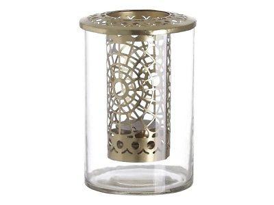 A Simple Mess - Teelichthalter Kathrina Glas Metall gold Windlicht 1 Teelicht