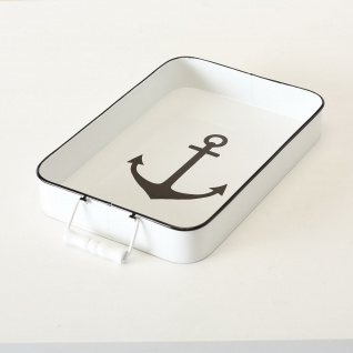 Deko Tablett ANKER Metall Maritim Zink Weiß lackiert Vintage 39 cm Rechteckig