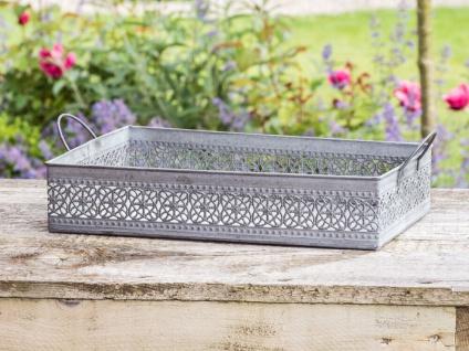 Deko Tablett MARTHA Zink Grau 24x35 cm Gartendeko Blumen Muster Metall Griffe