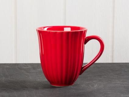 IB Laursen MYNTE Becher Rillen Rot STRAWBERRY Keramik Geschirr Tasse 250 ml
