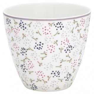Greengate Latte Cup GINNY Weiss BLUMEN Porzellan Kaffeebecher 300 ml