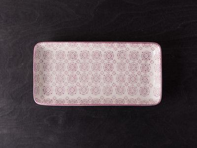 IB Laursen Tablett Teller Casablanca lila weiß Blumen Geschirr Keramik eckig