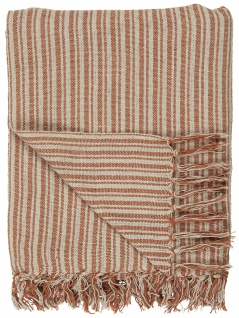 IB Laursen Plaid Rost / Creme Streifen Muster 130x160 Wolldecke Fransen Decke