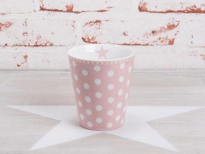 Krasilnikoff Happy Mug Becher PUNKTE Rosa weiß Tasse Stern Pink Porzellan