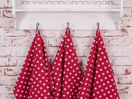 Krasilnikoff Geschirrtuch PUNKTE Rot Weiß Geschirrhandtuch Baumwolle gepunktet