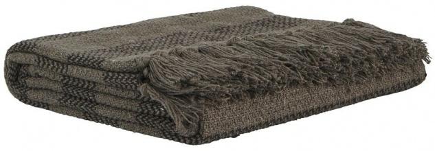 IB Laursen Plaid Streifen braun/dunkelbraun Fransen Baumwolle Tagesdecke Wolldec