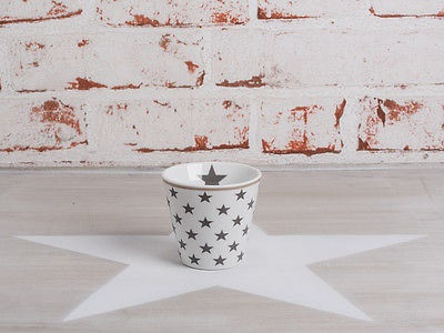 Krasilnikoff Espresso Tasse Sterne dunkelgrau Porzellan weiß grau Stern
