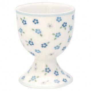 Greengate Eierbecher ELLISE Weiss BLUMEN Blau Punkte Porzellan Geschirr