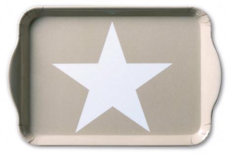 Ambiente Tablett STAR SAND Melamin Serviertablett STERN TAUPE 13x21 Untersetzer
