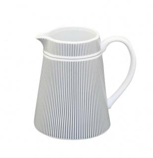 Krasilnikoff Milchkännchen STREIFEN Porzellan Nadelstreifen grau Sahnekännchen