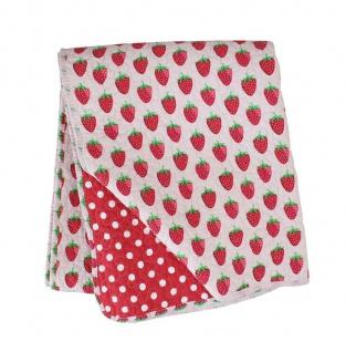 Krasilnikoff Quilt ERDBEEREN Rot Weiß Punkte Tagesdecke Plaid Decke 130x180