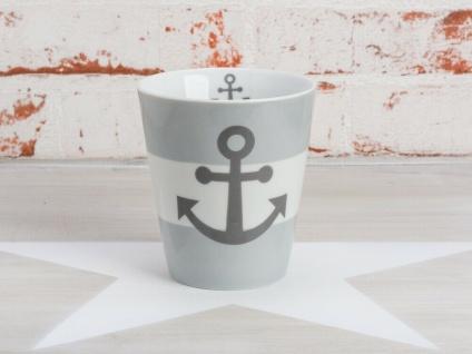 Krasilnikoff Becher Happy Mug ANKER Grau maritim Tasse Porzellan Kaffeebecher