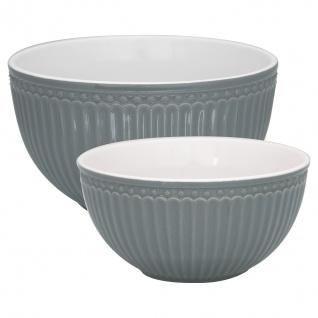Greengate Servier Schalen ALICE STONE GREY Grau Schüssel 2er Keramik Geschirr