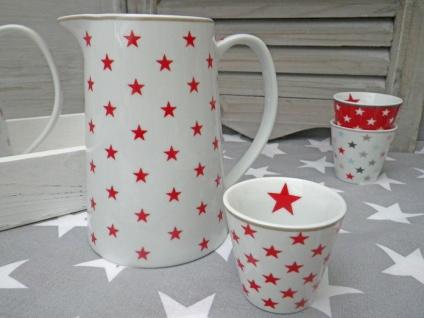 Krasilnikoff Krug STAR Rot Kanne weiß STERNE Porzellan Stern Karaffe 850ml 15 cm - Vorschau 5