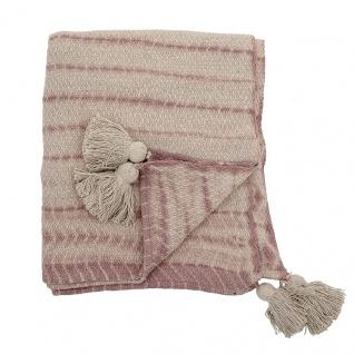 Bloomingville Decke HILAIRE Natur Rosa mit Bommeln Baumwolle 130x160 Wolldecke