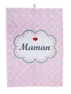 Krasilnikoff Geschirrtuch MAMAN Rosa Blumen Herz Mama Baumwolle 50x70 Handtuch