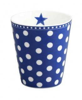 Krasilnikoff Becher Happy Mug PUNKTE Dunkelblau Porzellan Tasse Blau Weiß 250ml