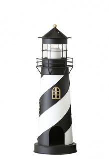 Laterne Leuchtturm Maasholm schwarz weiß 46 cm Gartenlaterne Metall Deko Gartendeko