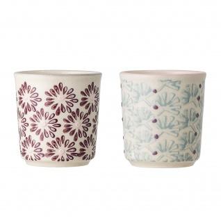 Bloomingville Eierbecher MAYA 2er Set Keramik Becher Geschirr Rot Türkis