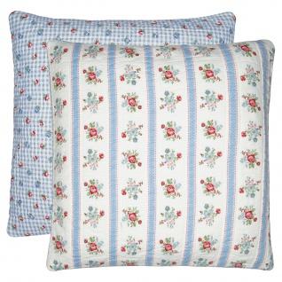 Greengate Kissen EVIE Weiß 50x50 Kissenhülle Kissenbezug mit Blumen Baumwolle