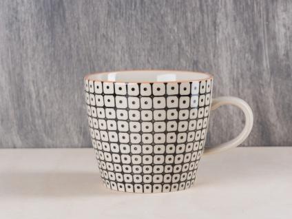 Bloomingville Carla Becher m Henkel schwarz weiß Tasse Keramik Kaffeetasse 250 m