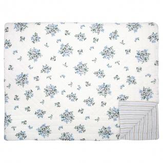 Greengate Quilt NICOLINE Weiß Blau mit Blumen 140x220 Tagesdecke Baumwolle Decke
