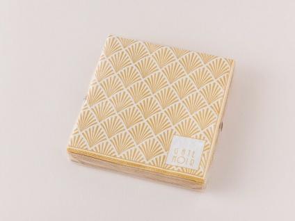 Gate Noir GreenGate Servietten CELINE Gold Weiß klein Fächer Design 12.5x12.5 cm