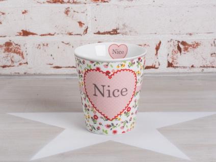 Krasilnikoff Happy Mug Becher NICE Weiß mit bunten Blumen