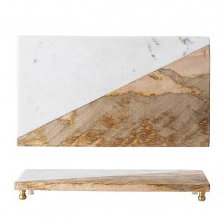 Bloomingville Tablett Marmor / Mango Holz Messing Füsse 20 x 35 cm Tapasbrett