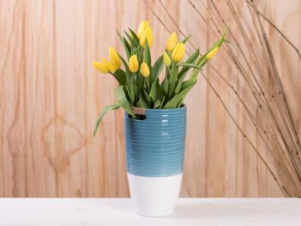 Vase ELLA blau weiß 24 cm Keramik Blumenvase Skandinavische Deko