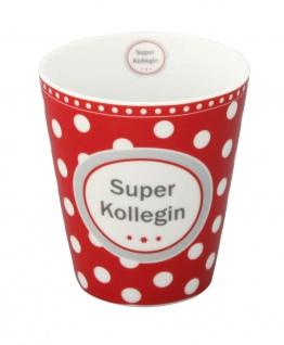 Krasilnikoff Becher Happy Mug SUPER KOLLEGIN Rot Tasse Porzellan Kaffeebecher