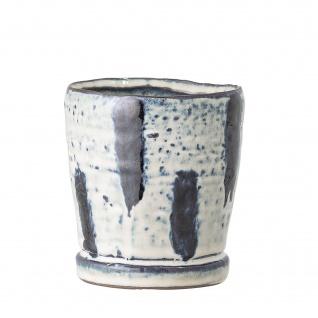 Bloomingville Blumentopf Blau / Weiß 9.5 cm Keramik Übertopf Höhe 10.5 cm