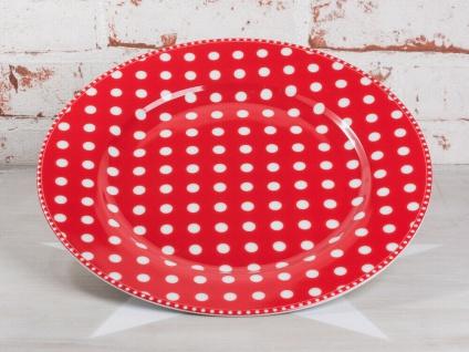 Krasilnikoff Essteller PUNKTE Rot Teller weiße Punkten Porzellan 25cm gepunktet