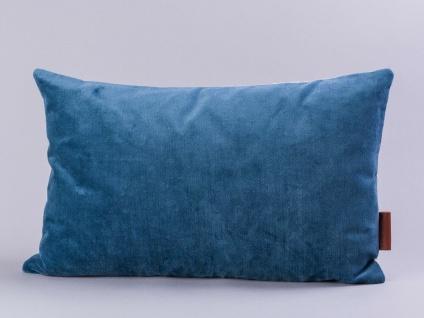 Cozy Living Kissen Samt dunkelblau Baumwolle grau 30x50 mit Füllung
