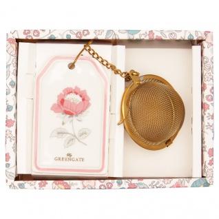 Greengate Tee Ei SIENNA Weiss mit Kette Teesieb Gold Anhänger mit Blume