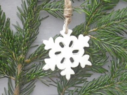 Schneeflocke Holz weiß 12 cm Hänger Deko Objekt Weihnachten Weihnachtsdeko
